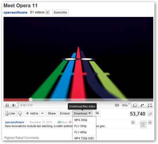 Download YouTube Videos in Opera